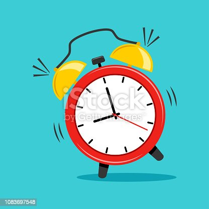 Alarm clock on blue background. Vector illustration