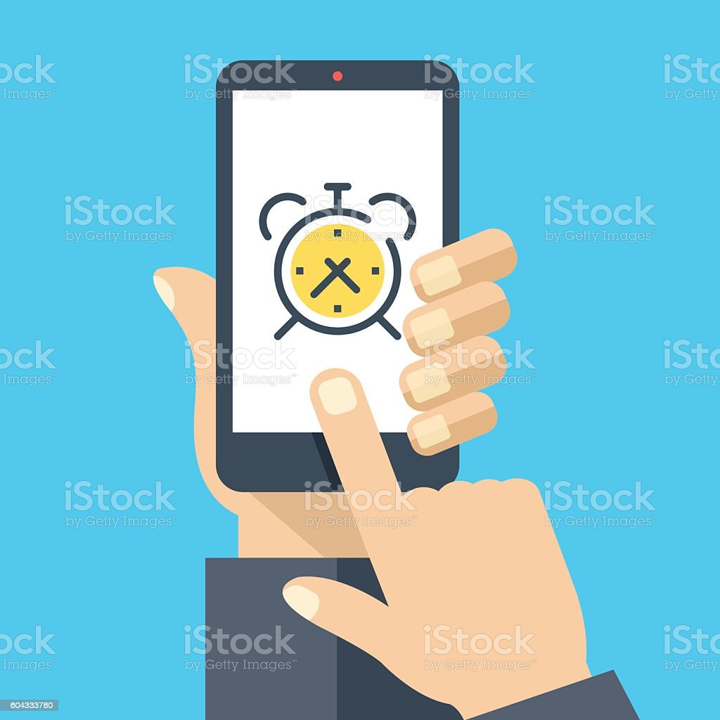 Alarm clock on smartphone screen. Wake up app. Flat illustration – Vektorgrafik