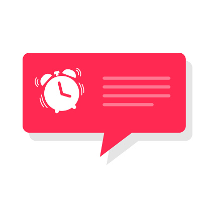 Alarm clock reminder message notice bubble to wake up vector, watch timer notification flat style icon, text cat alert red color