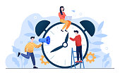 istock Alarm clock rings, concept of work time management 1317810329