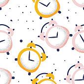 Alarm clock seamless pattern on white background in cartoon style, vector illustration.