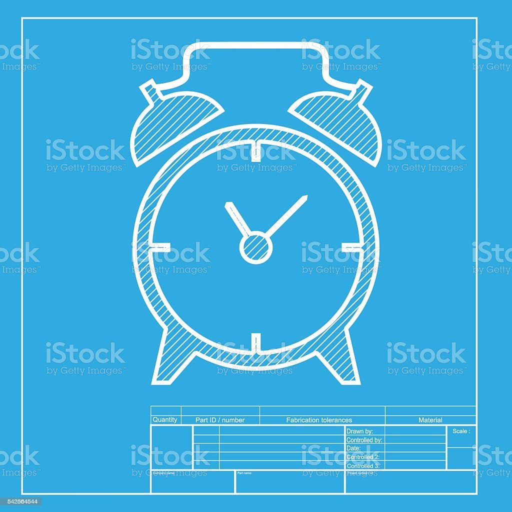 alarm clock sign white section of icon on blueprint template stock
