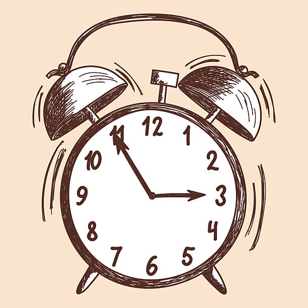 Alarm clock sketch vector art illustration