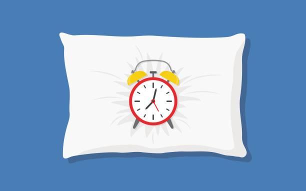Alarm clock sleeping on pillow vector art illustration