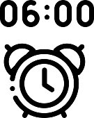 Alarm Clock Time Icon Vector. Outline Alarm Clock Time Sign. Isolated Contour Symbol Illustration