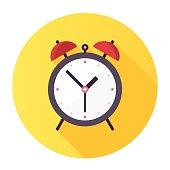Flat & Long Shadow Alarm Clock Icon