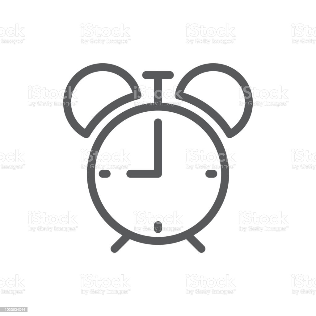 Alarm Clock Vector Illustration Editable Icon Outline Pictogram Of  Timepiece With Bell In Retro Style Stock Illustration - Download Image Now