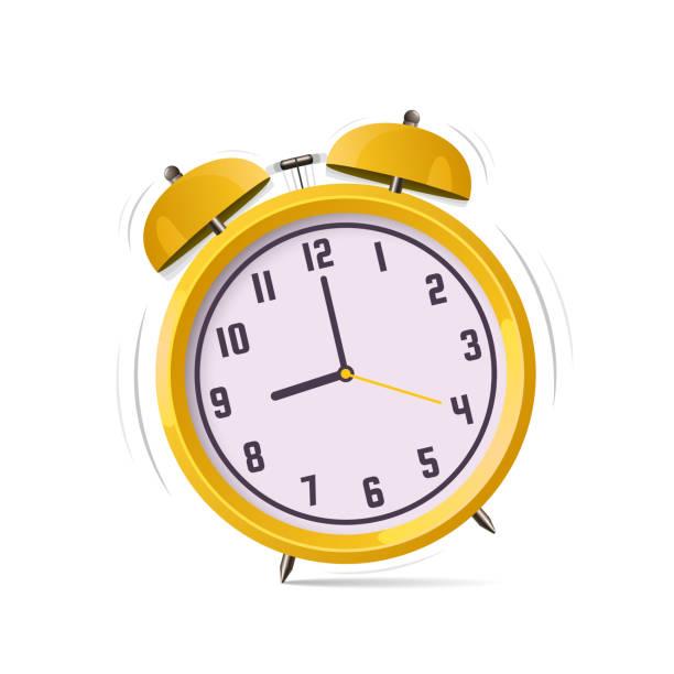 bildbanksillustrationer, clip art samt tecknat material och ikoner med väckarklocka vektor logotypen. platt design illustration. - clock