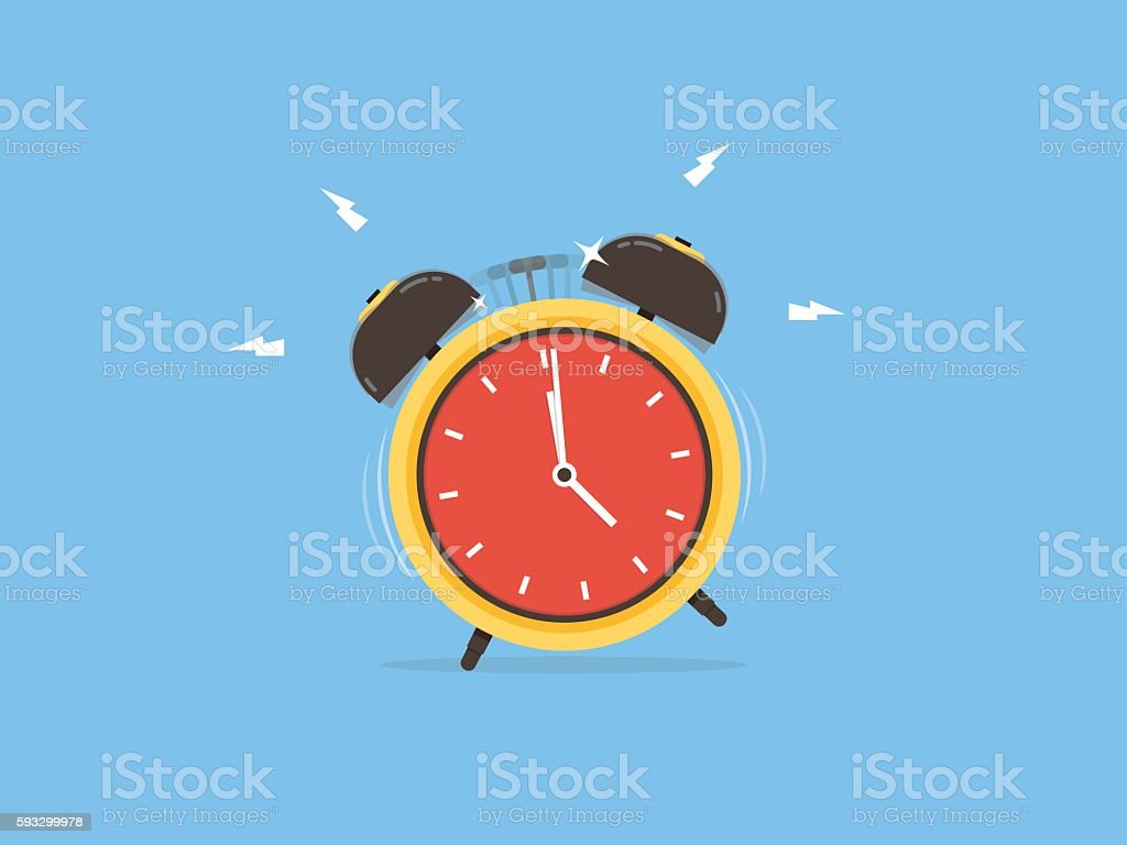 Alarm clock, wake-up time vector art illustration