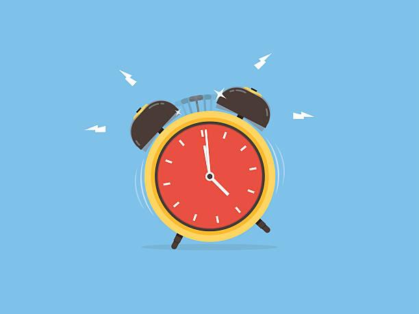 Alarm clock, wake-up time vector art illustration