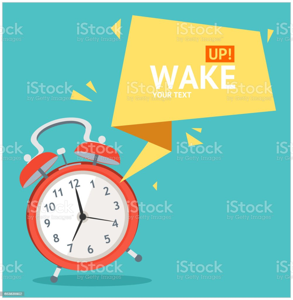 Alarm Clock with Bubble Speech Card. Vector vector art illustration