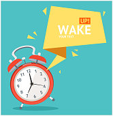 Alarm Clock with Bubble Speech Card. Vector
