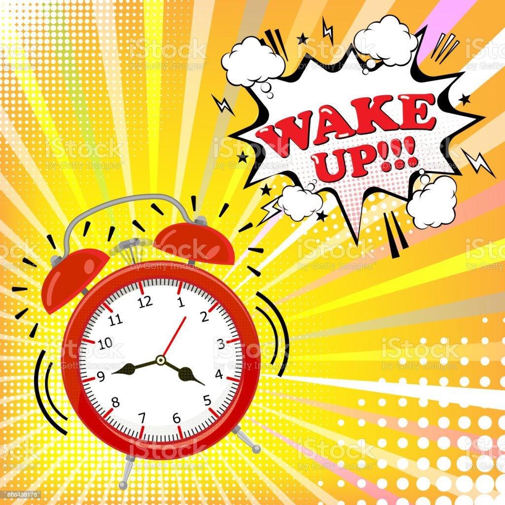Alarm Clock With Comic Bubble With Wake Up Word On Halftone ...