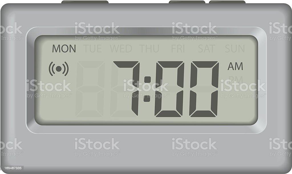 Alarm clock with days vector art illustration