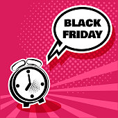 Alarm clock with white comic bubble with BLACK FRIDAY word on pink background. Comic sound effects in pop art style. Vector illustration.