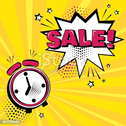 istock Alarm clock with white comic bubble with SALE word on yellow background. Comic sound effects in pop art style. Vector illustration. 942209460