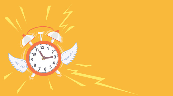 Alarm clock with wings flies away. Copy space background.