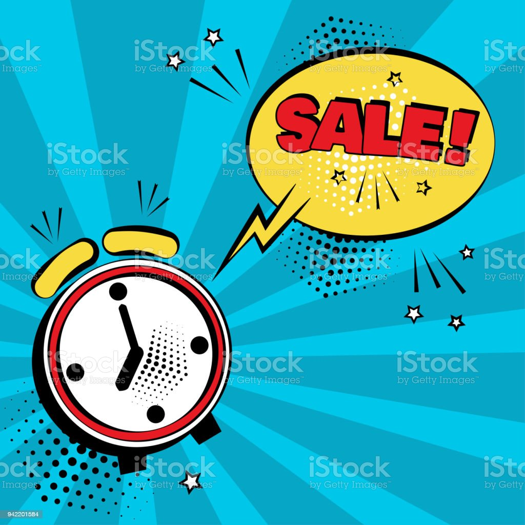 Alarm clock with yellow comic bubble with SALE word on blue background. Comic sound effects in pop art style. Vector illustration. vector art illustration