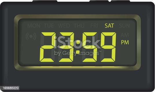 Alarm clock including alarm, am, pm and days of the week symbols. Time editable by changing colours