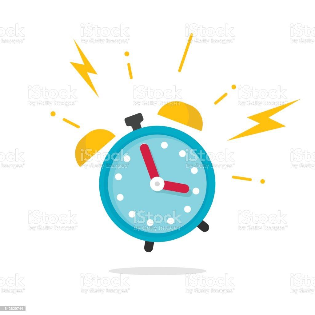 Wecker klingeln Symbol Vektor-Illustration, flachen Karton Wecker Glocken Klang isoliert auf weißem Hintergrund – Vektorgrafik