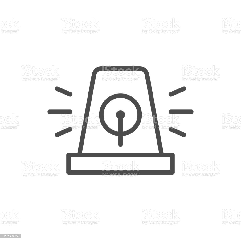Alarm Siren Line Outline Icon Stock Illustration Download Image Now Istock