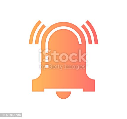 Alarm systems design with gradient fill painted by path of the icon. Papercut style graphic can also be used as simple vector template for silhouette illustrations.