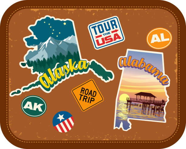 alaska, alabama travel stickers with scenic attractions and retro text on vintage suitcase background - alabama stock illustrations