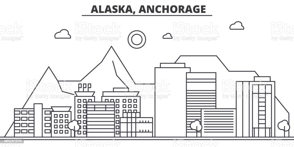 Alaska, Anchorage architecture line skyline illustration. Linear vector cityscape with famous landmarks, city sights, design icons. Landscape wtih editable strokes vector art illustration