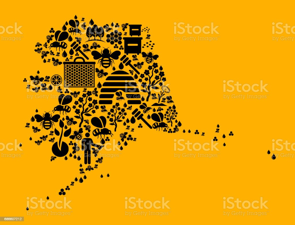Alaska Bee and Honey Vector Icons Background royalty-free alaska bee and honey vector icons background stock vector art & more images of agriculture