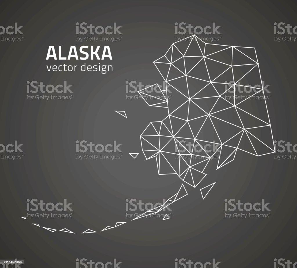 Alaska contour black polygonal triangle vector perspective map vector art illustration