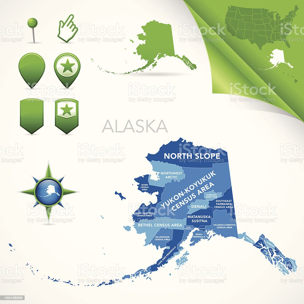 Alaska County and Census Area Map vector art illustration