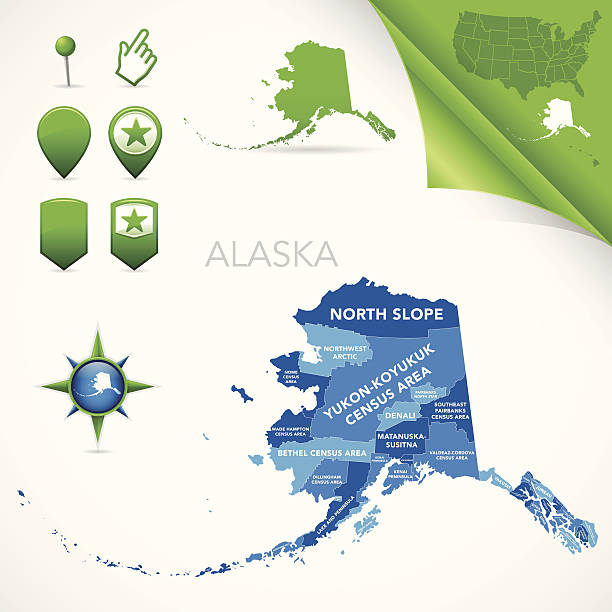 bildbanksillustrationer, clip art samt tecknat material och ikoner med alaska county and census area map - denali national park