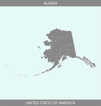 アラスカ郡地図ベクトル アウトライン グレー背景クリエイティブな ...