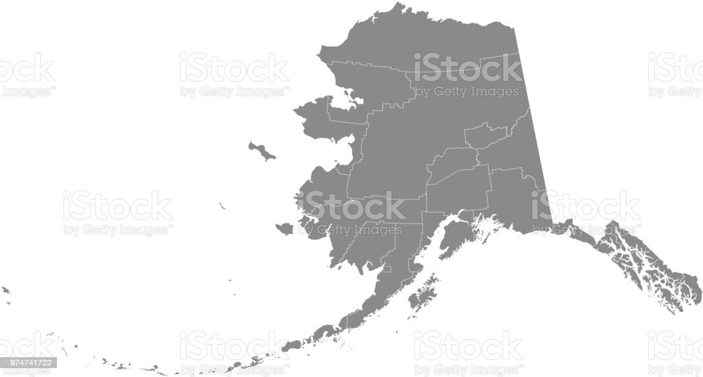 Alaska county map vector outline gray background. County map of Alaska state of United States of America with counties borders vector art illustration