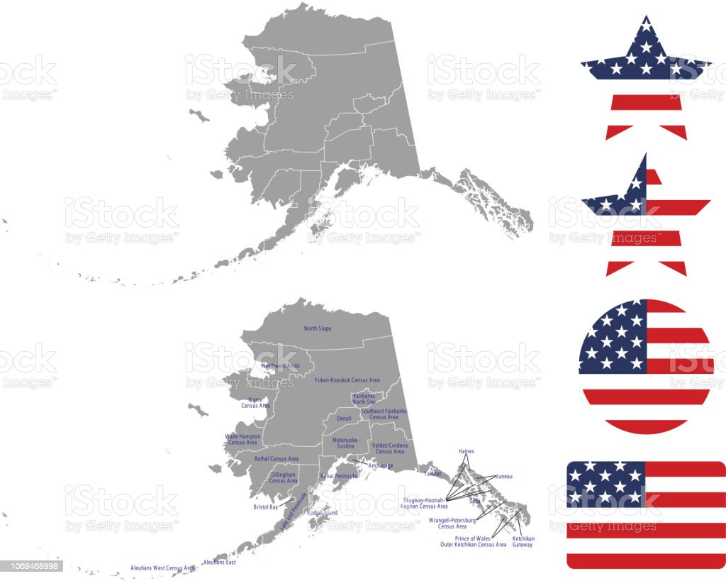 Alaska County Map Vector Outline In Gray Background Alaska ...