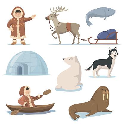 Alaska elements and happy Inuits flat set for web design