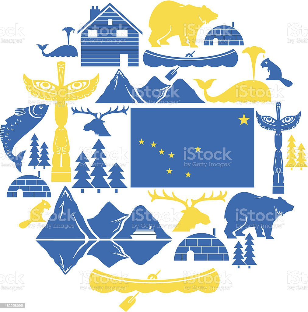 Alaska Icon Set royalty-free alaska icon set stock vector art & more images of alaska - us state