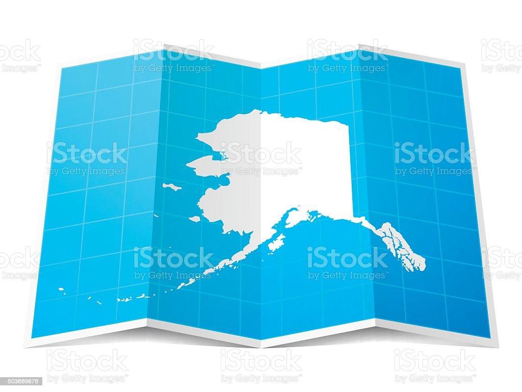 Alaska Map folded, isolated on white Background vector art illustration