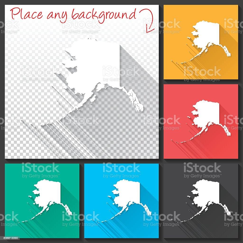 Alaska Map for design, Long Shadow, Flat Design vector art illustration