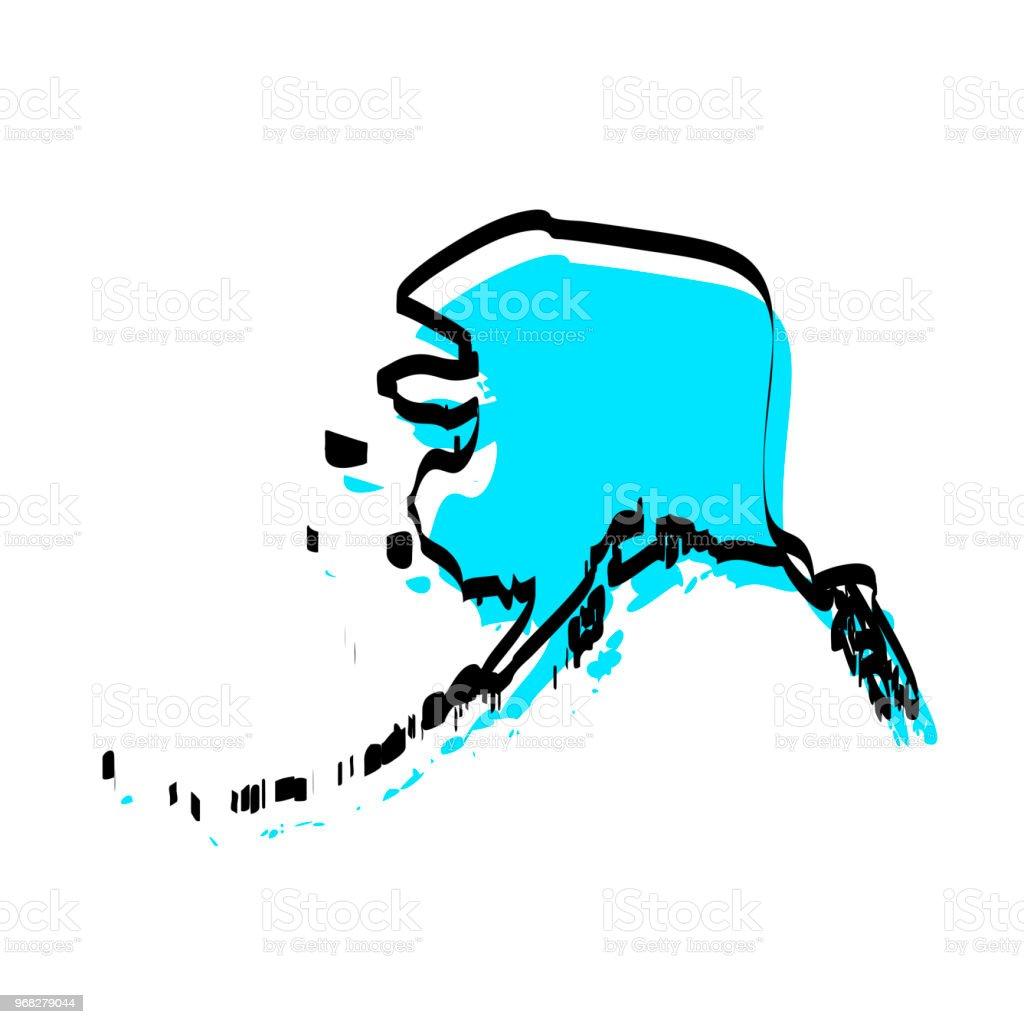 Blank Alaska Map.Alaska Map Hand Drawn On White Background Trendy Design Stock Vector
