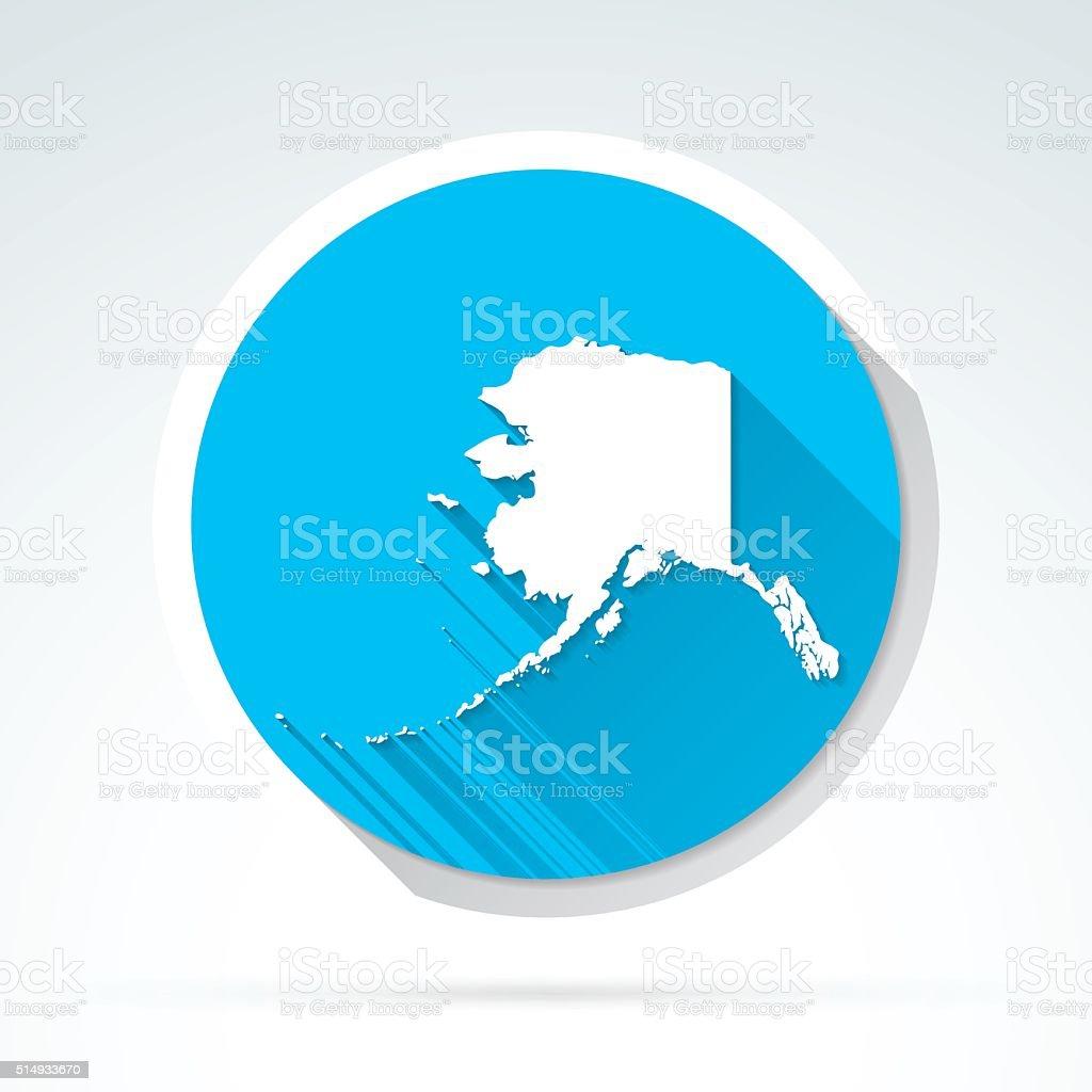 Alaska map icon, Flat Design, Long Shadow vector art illustration
