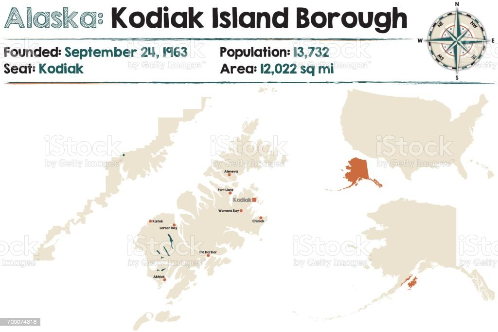 Kodiak Island Alaska Map.Alaska Map Of Kodiak Island Borough Stock Vector Art More Images