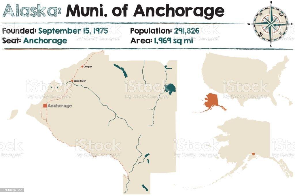 Alaska map of Municipality of Anchorage vector art illustration