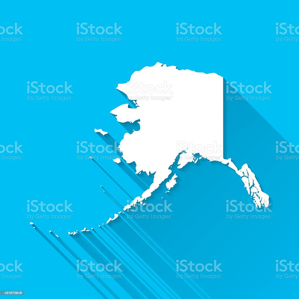 Alaska Map on Blue Background, Long Shadow, Flat Design vector art illustration