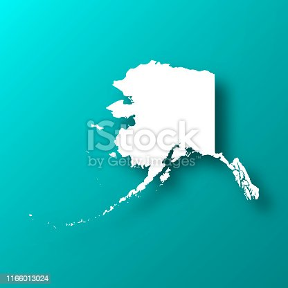 White map of Alaska isolated on a trendy color, a blue green background and with a dropshadow. Vector Illustration (EPS10, well layered and grouped). Easy to edit, manipulate, resize or colorize.
