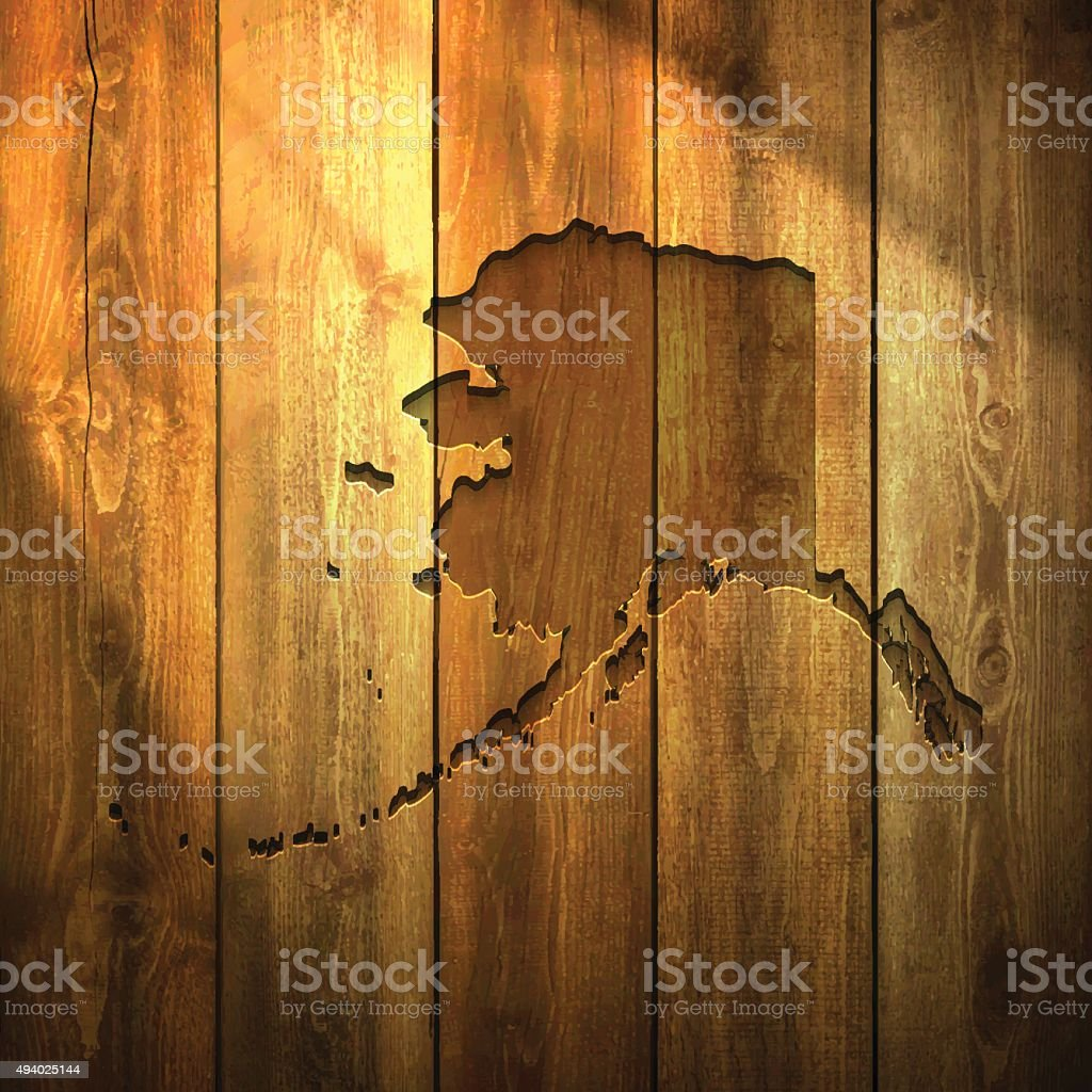 Alaska Map on lit Wooden Background vector art illustration