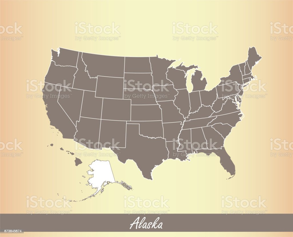 Alaska Map Vector Outline Illustration Highlighted In Usa ...