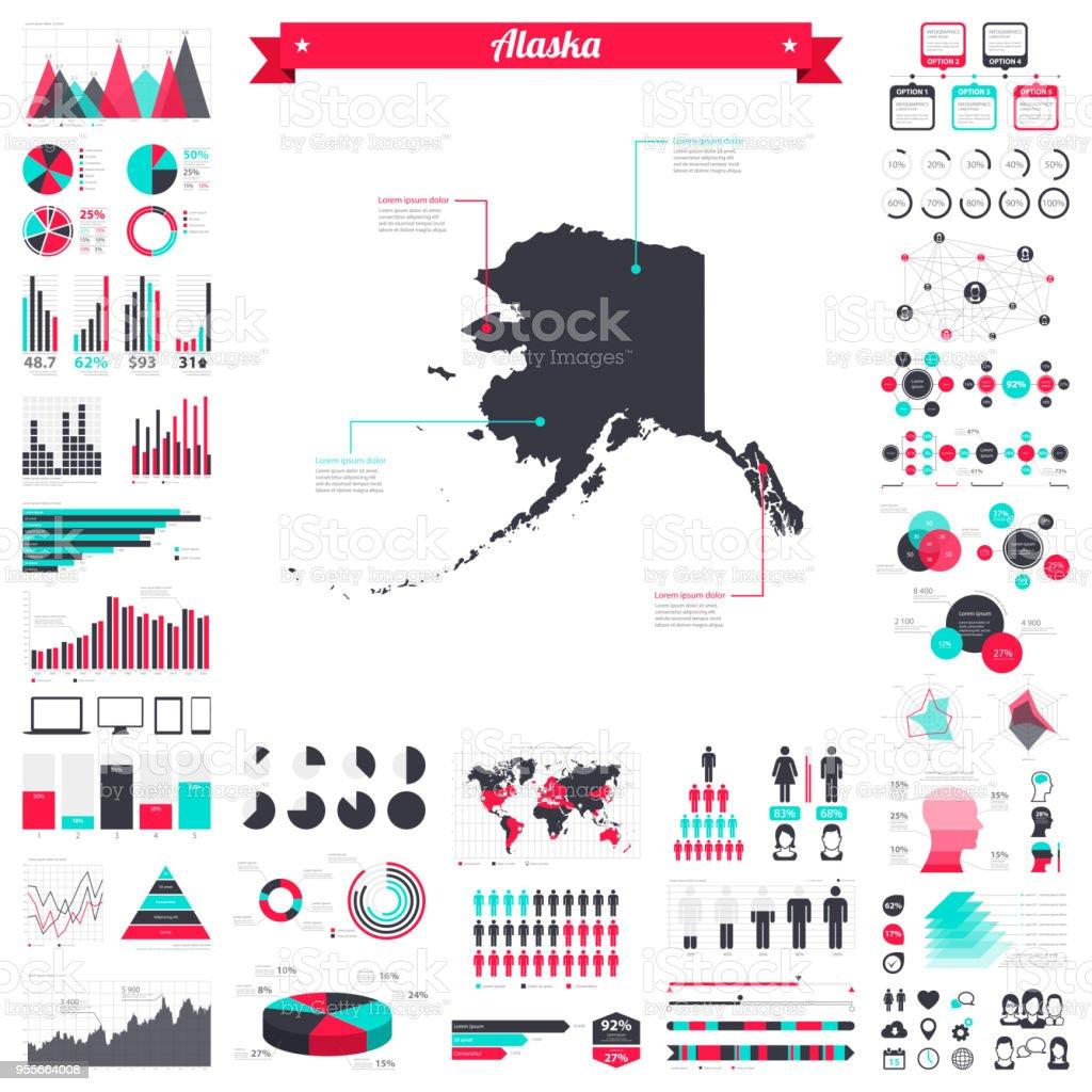 Alaska map with infographic elements - Big creative graphic set vector art illustration