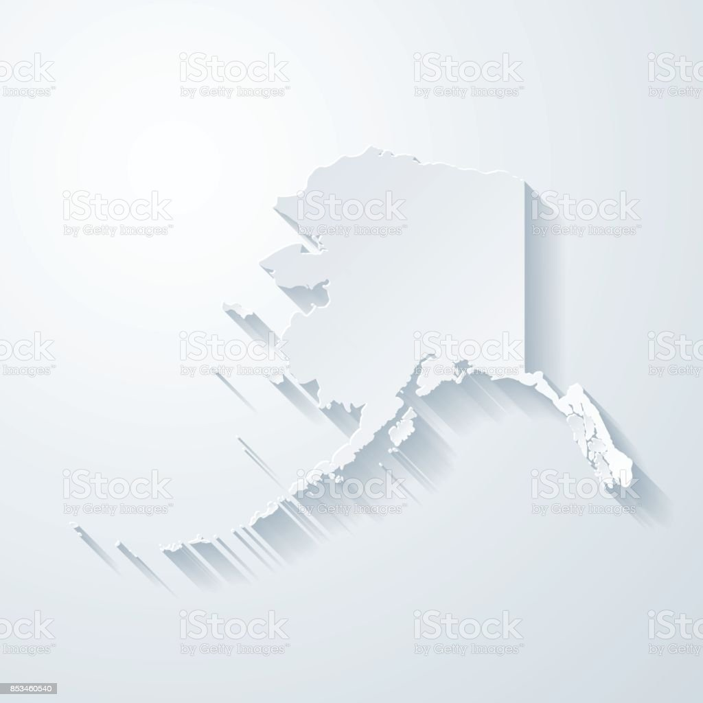 Alaska map with paper cut effect on blank background vector art illustration