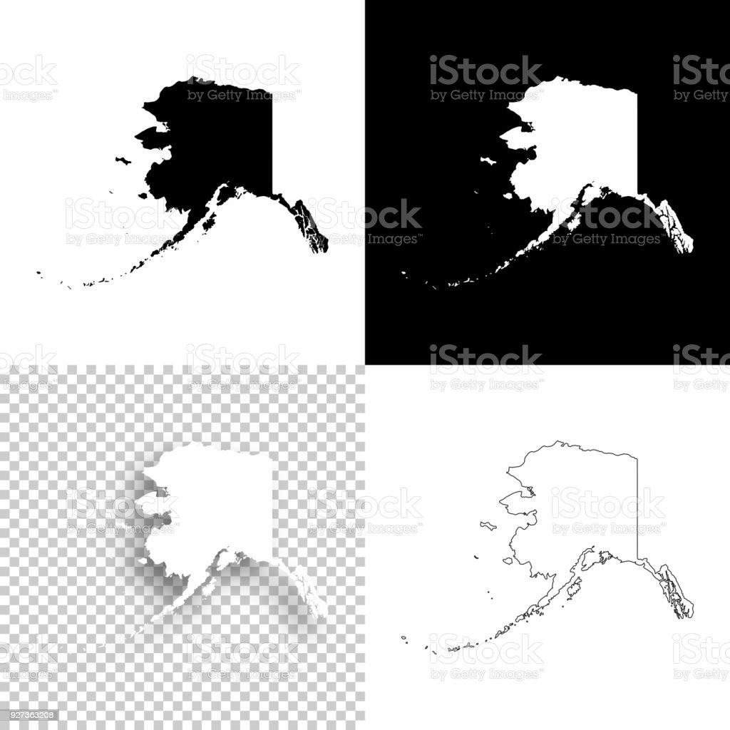 Alaska maps for design - Blank, white and black backgrounds vector art illustration